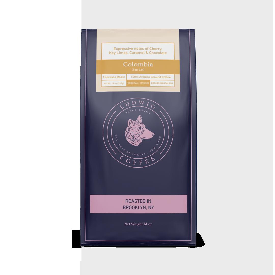 Ludwig Coffee 14oz Colombian Single Origin Ground Coffee Bag